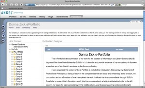 Figure 1.1: Donna Zicks e-Portfolio work area in ANGEL