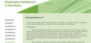 Figure 2.1: Alejandra Saldana-Nann's e-portfolio in D2L: The top of a competency page